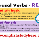 English Phrasal Verbs with READ,Definitions and Examples