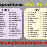 Prepositions in English: Out, By, For