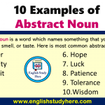 10 Examples of Abstract Noun in English
