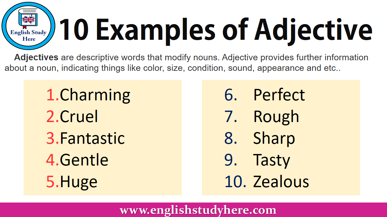 10 Examples of Adjective List in English
