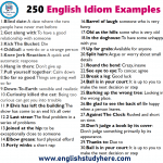 250 English Idiom Examples and their meanings in english
